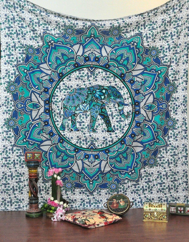 AmazonSmile: Jaipur Handloom Bohemian Elephant Mandala Tapestry ...