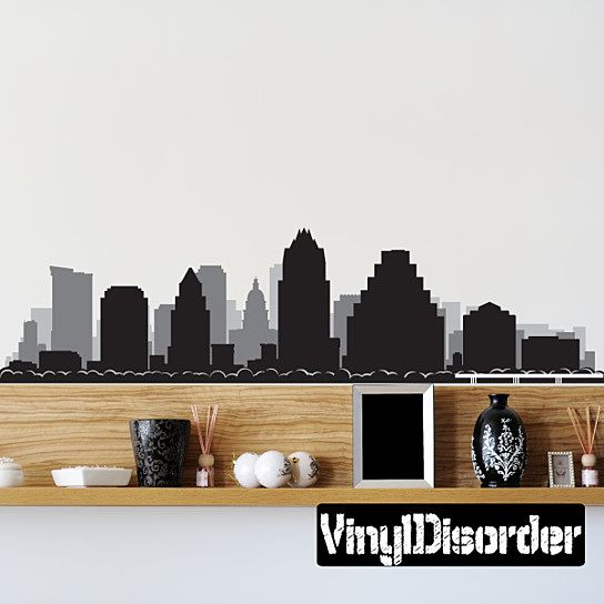 Austin texas skyline vinyl wall decal or car sticker ss098ey