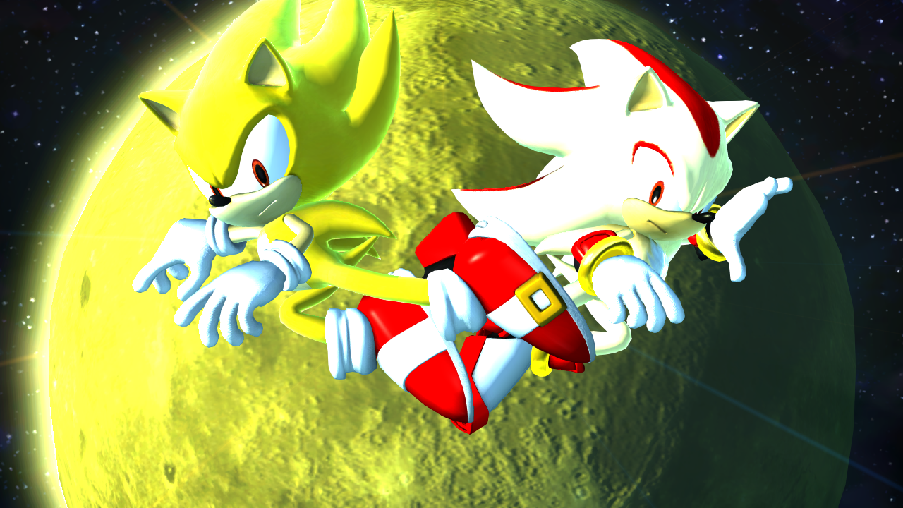 super sonic and shadow are jumping over the moon Sonic