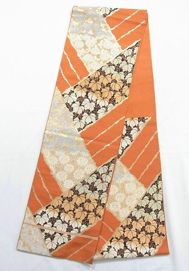 This is a contemporary Hon-fukuro obi with beautiful woven pattern