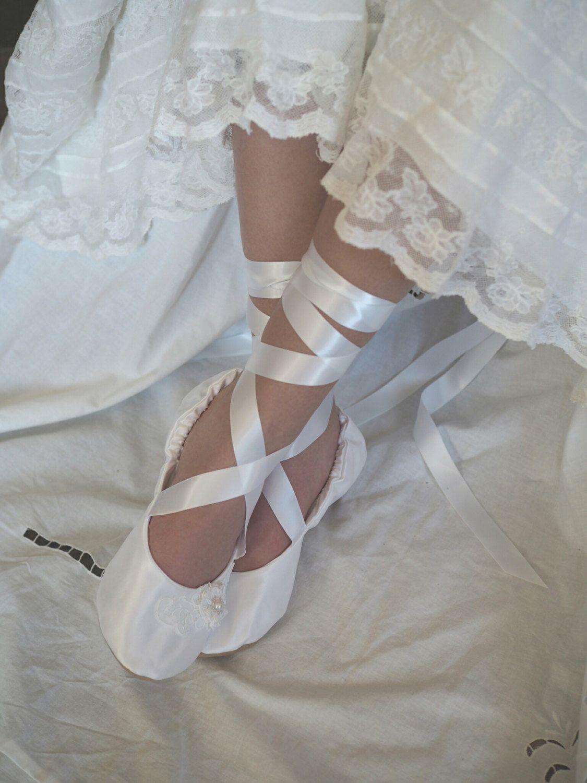 White Satin Ballet Bridal Shoes White Ballerina Bridal Slipper White Flat Wedding Ballet Shoe Weddi Ivory Bridal Shoes Wedding Shoes Flats Ballerina Slippers