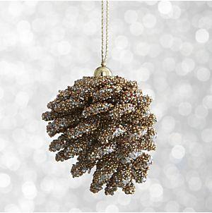 Mini Beaded Pinecone Ornaments | Crate and Barrel