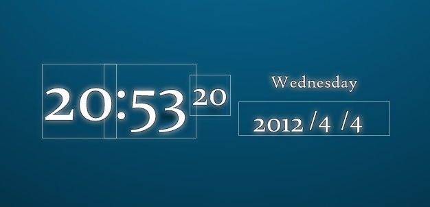 Outlined Clock And Calender Widget For Windows Pc Widget