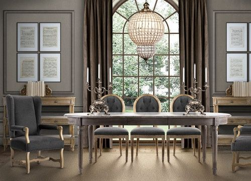 Restoration Hardware Style Dining Room Crustal Orb Chandelier Weathered  Reclaimed Wood