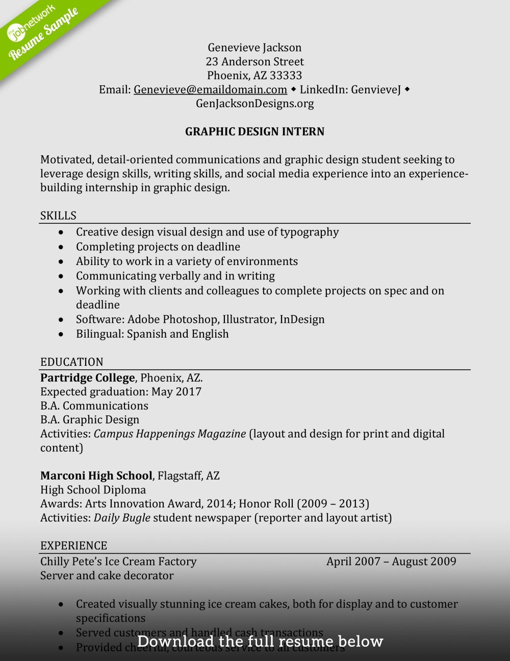 Graphic Design Intern Resume Lovely How to Write A Perfect