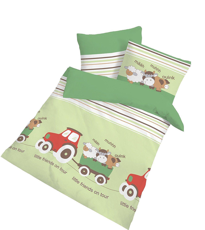 Ido Renforce Baby Bettwasche Traktor Grun 100x135 40x60 Cm