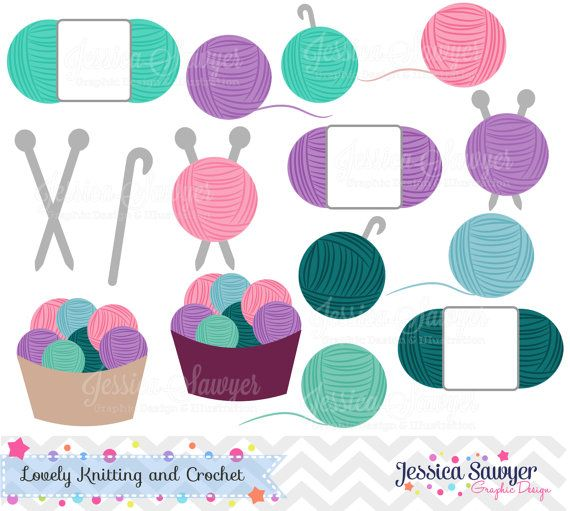 Knitting Crochet Clipart : Instant download crochet and knitting clipart for
