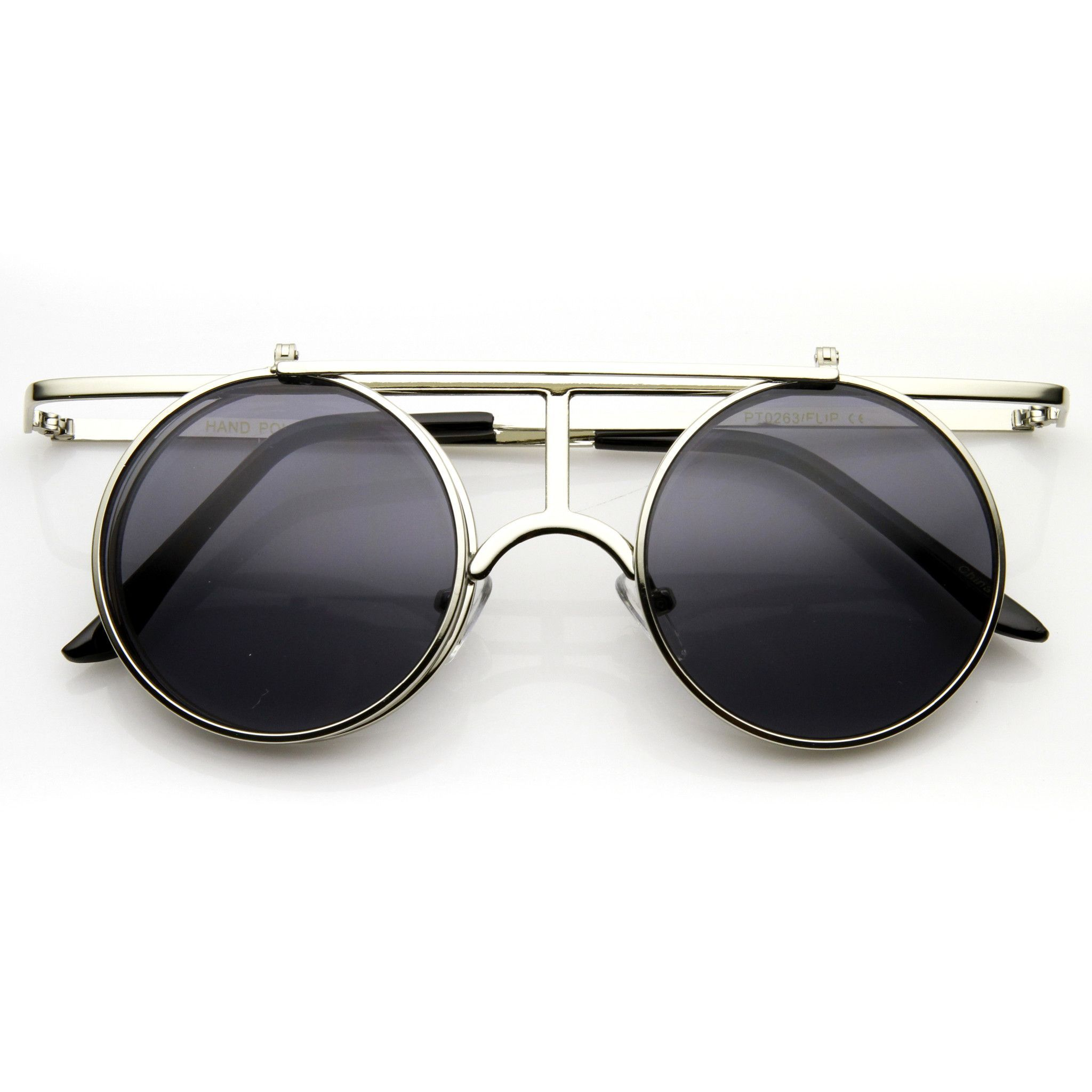 be9eeb432c Steampunk Vintage Inspired Crossbar Flip Up Metal Sunglasses 8972 from  zeroUV. Shop more products from zeroUV on Wanelo. Round Sunglasses ...