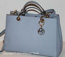 MICHAEL KORS MK Cynthia Medium Satchel Leather Bag Purse Tote Handbag Pale Blue http://ift.tt/1iFcTMU