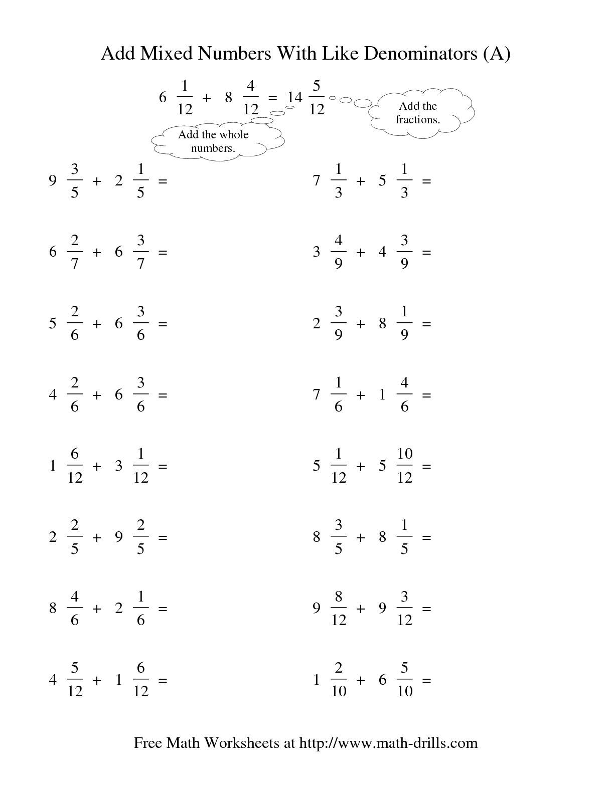 4 Adding Fractions With Like Denominators Worksheets 2