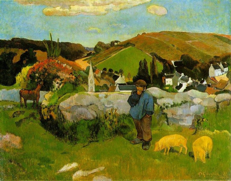 Larger view of Paul Gauguin: The Swineherd, Brittany - 1888