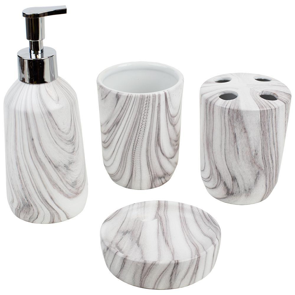 Marble Ceramic 4 Piece Bath Accessory Set In White Hdc51465 Bath Accessories Set Bath Accessories Marble Ceramics