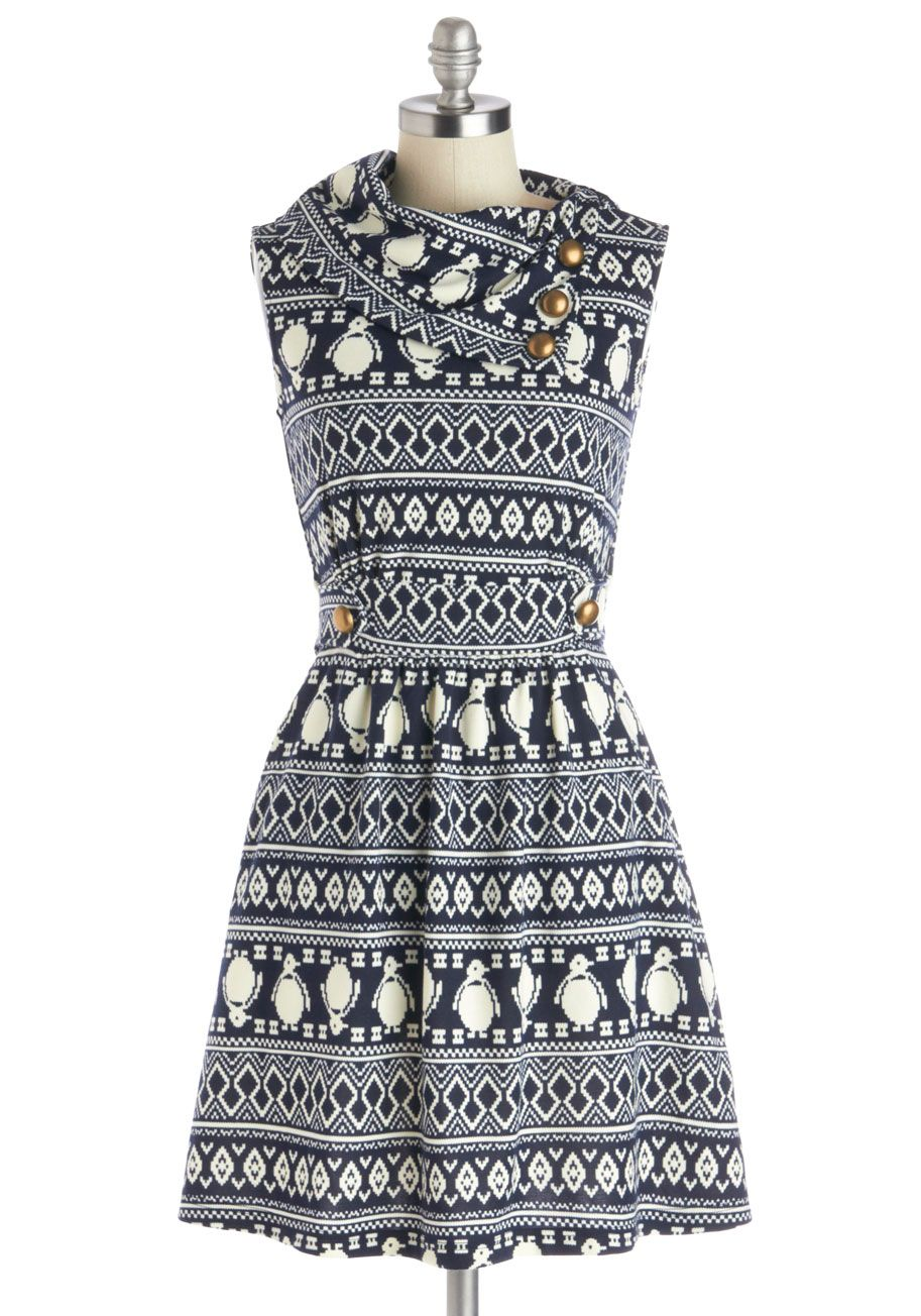 Coach Tour Dress in Penguins. Sometimes a dress is so magical, it makes you long for somewhere special and new to wear it. #blue #modcloth