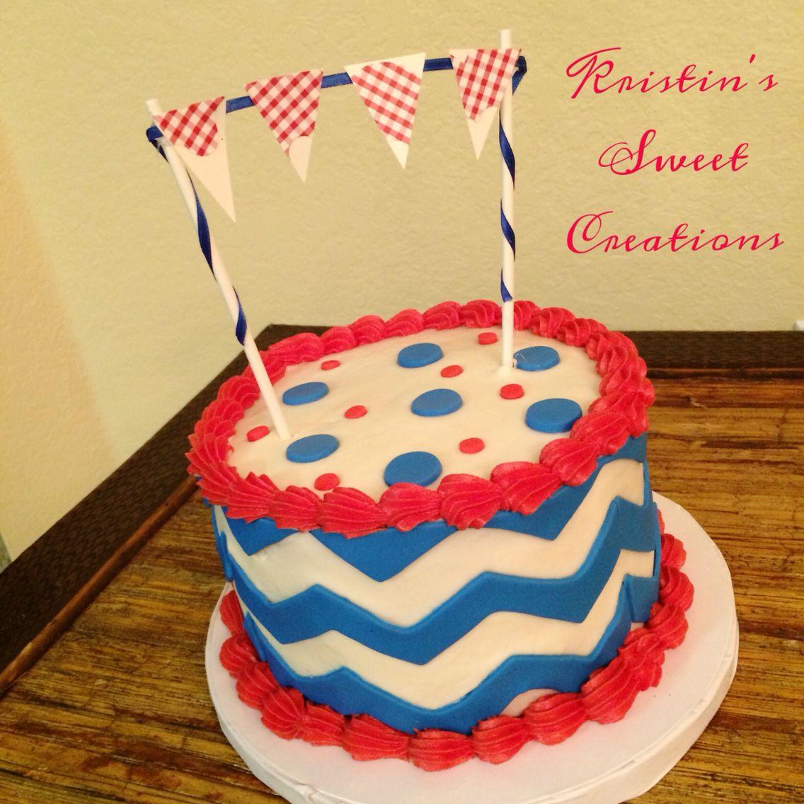 Red white and blue chevron smash cake Kristins Sweet Creations
