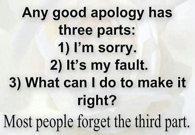 Sorry Quotes Sorry Quotes  Any Good Apology Has 3 Parts1I'm Sorry2It's My