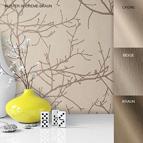 Vliestapete Vinyl Tapete Mit Baummuster Weiß Creme Braun In Edelster  Ausführung , Außergewöhnliches Tapeten Muster In