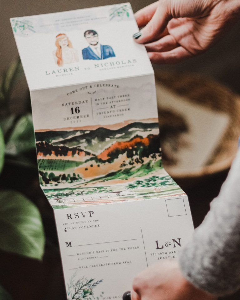 Illustrated Fold Out Watercolor Wedding Invitations Convites Do