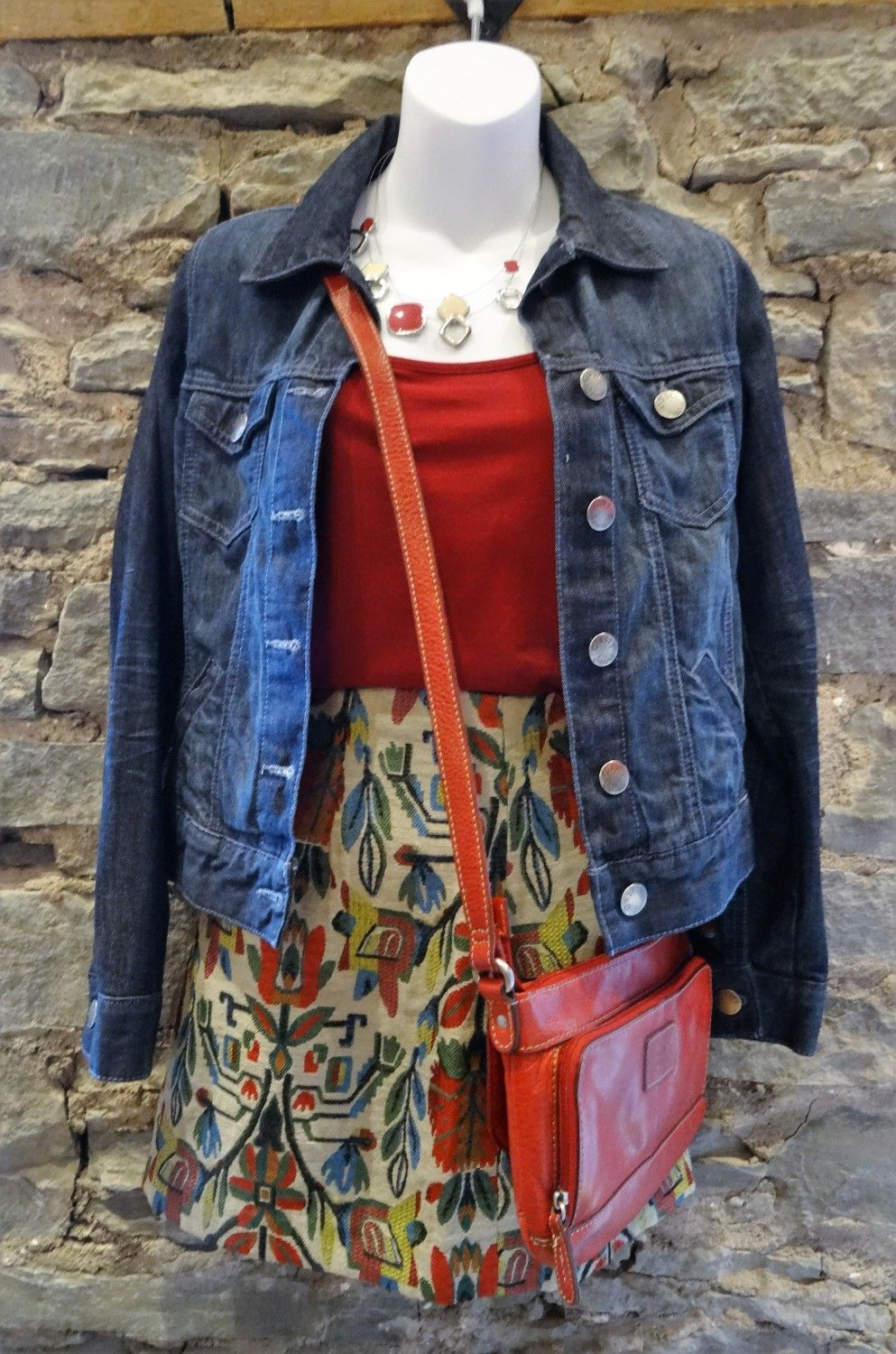 Oasis Jean Jacket, Griffin Skirt, Fossil Bag