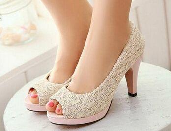 Wedding Shoes Wedge Heel Lace Brides Women Pumps Sweet High Heel Applique 2015