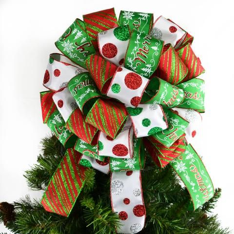 Christmas Tree Bow with Tails | Red Tree Bow | White Emerald Green Tree Bow | Christmas tree ...