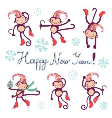 Happy new year card with monkeys symbol of 2016 vector by Olillia ...