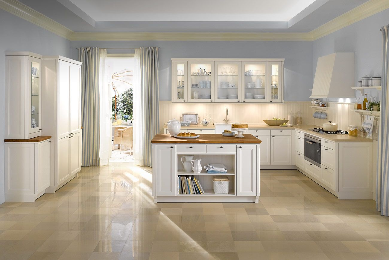 Amazing country slyle of kitchen design with light blue for Modern country kitchen design ideas