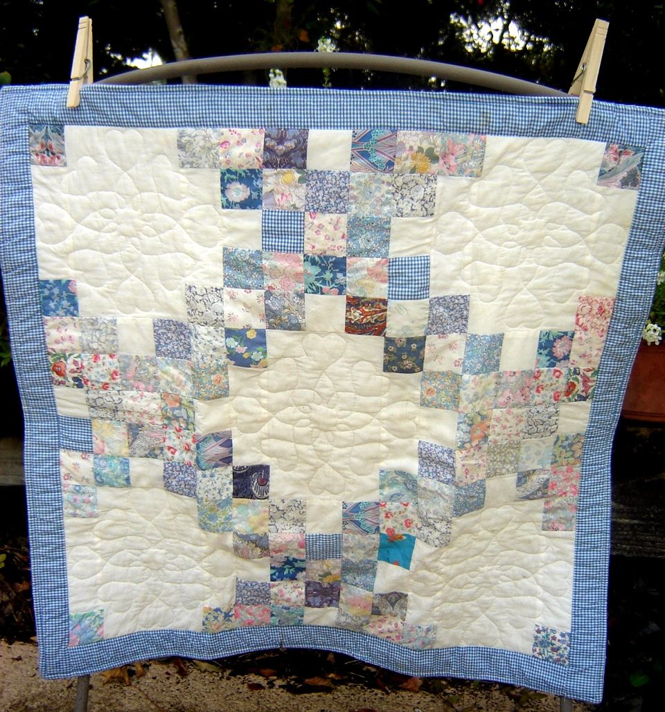 Interesting use of Blue for Irish Chain Quilt Quilts