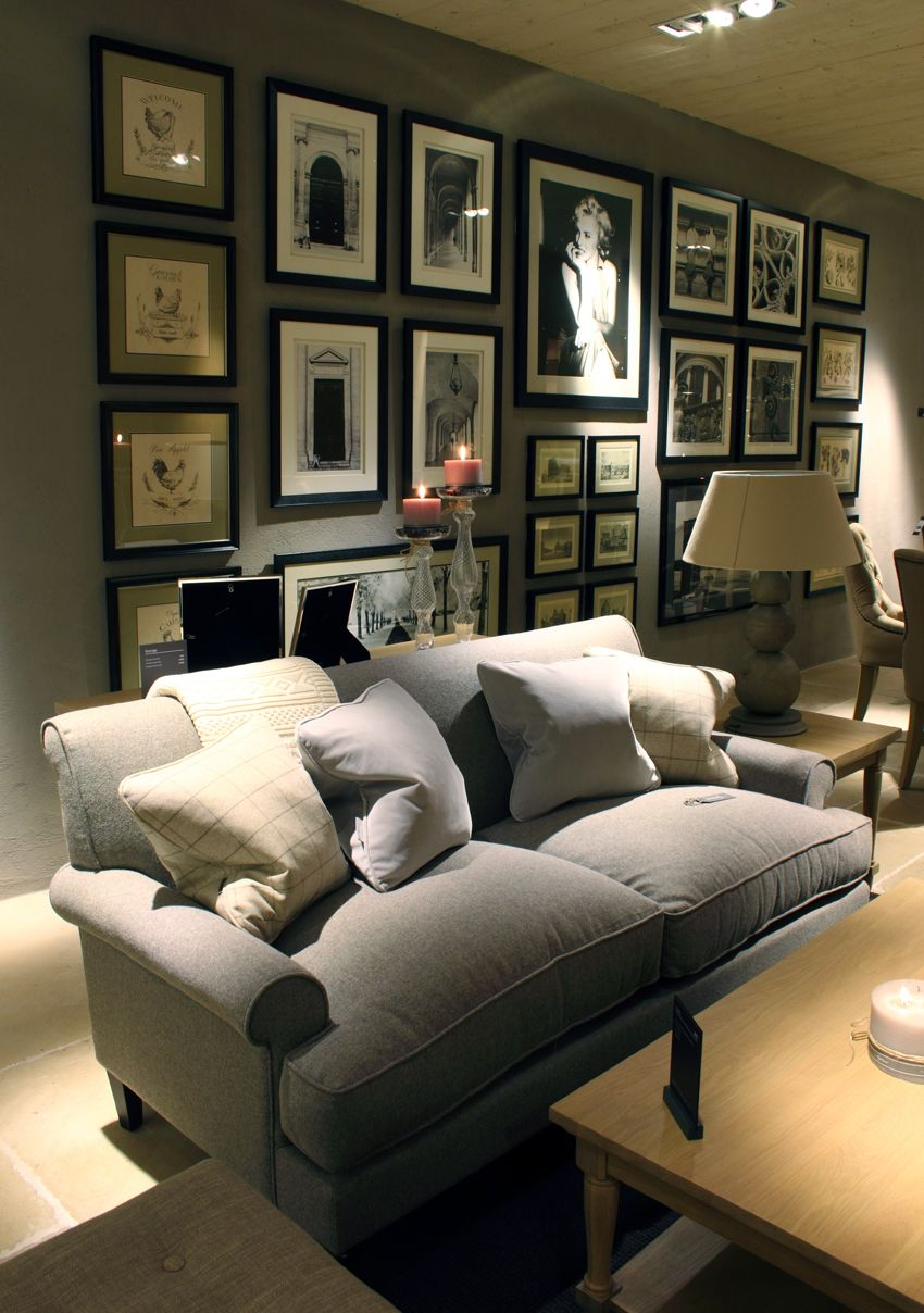 The gallery wall and George sofa in the new Neptune Showroom at