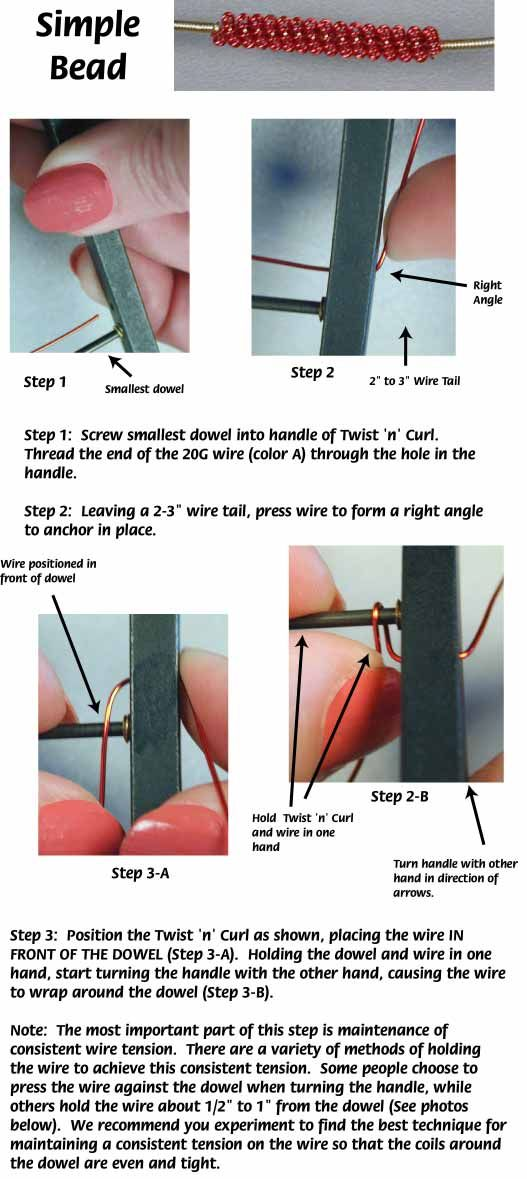 Simple Coiled Wire Bead Twist N Curl Jewelry Making Instructions