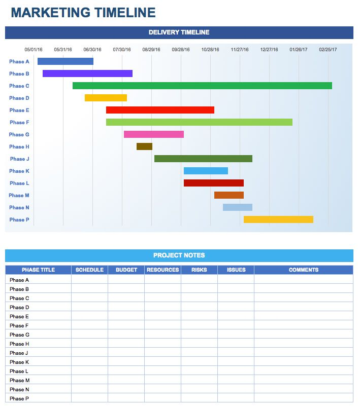 Marketing Timeline in Excel Startup Hacks Pinterest - timeline sample in excel