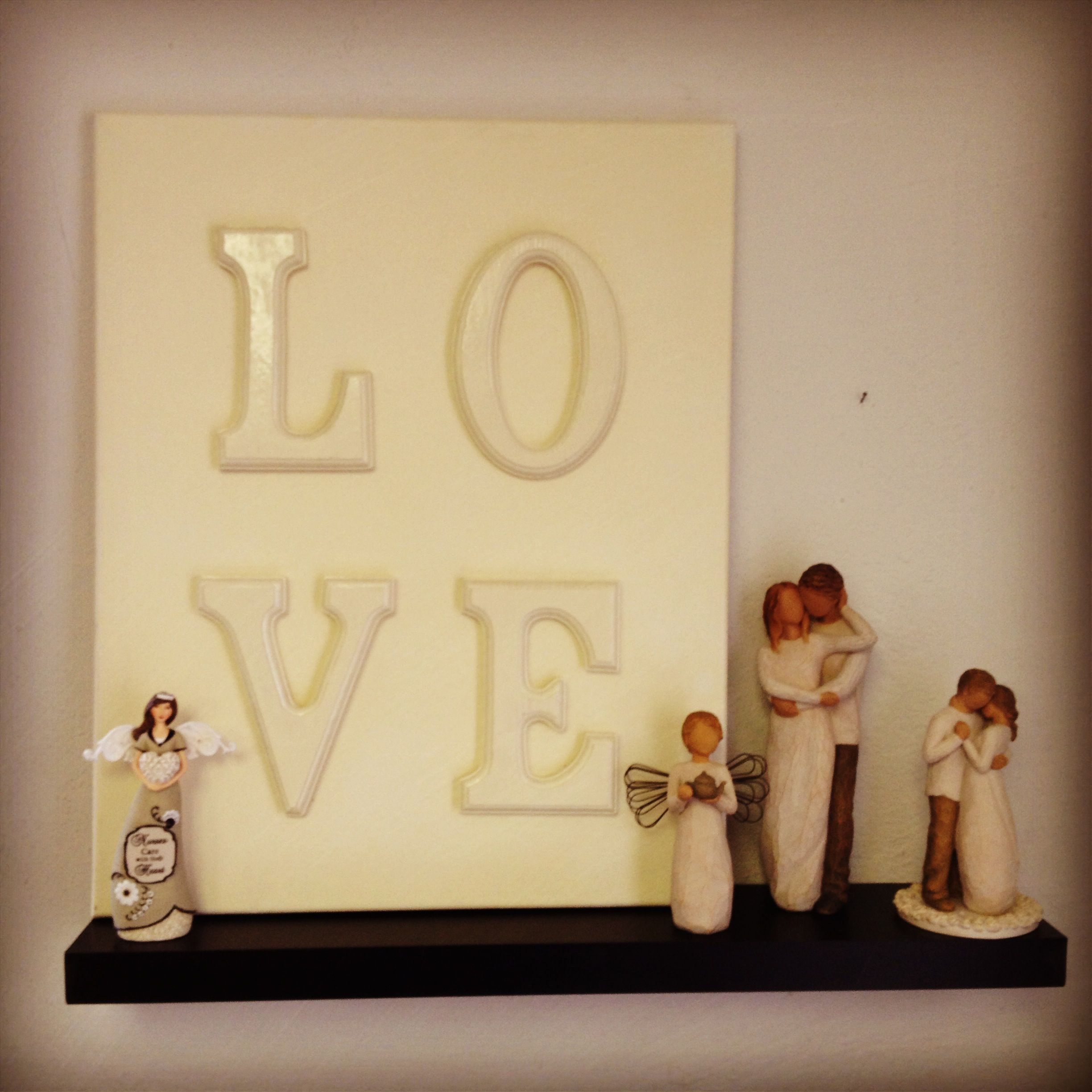 Painted wooden letters on canvas and willow tree angels | My real ...