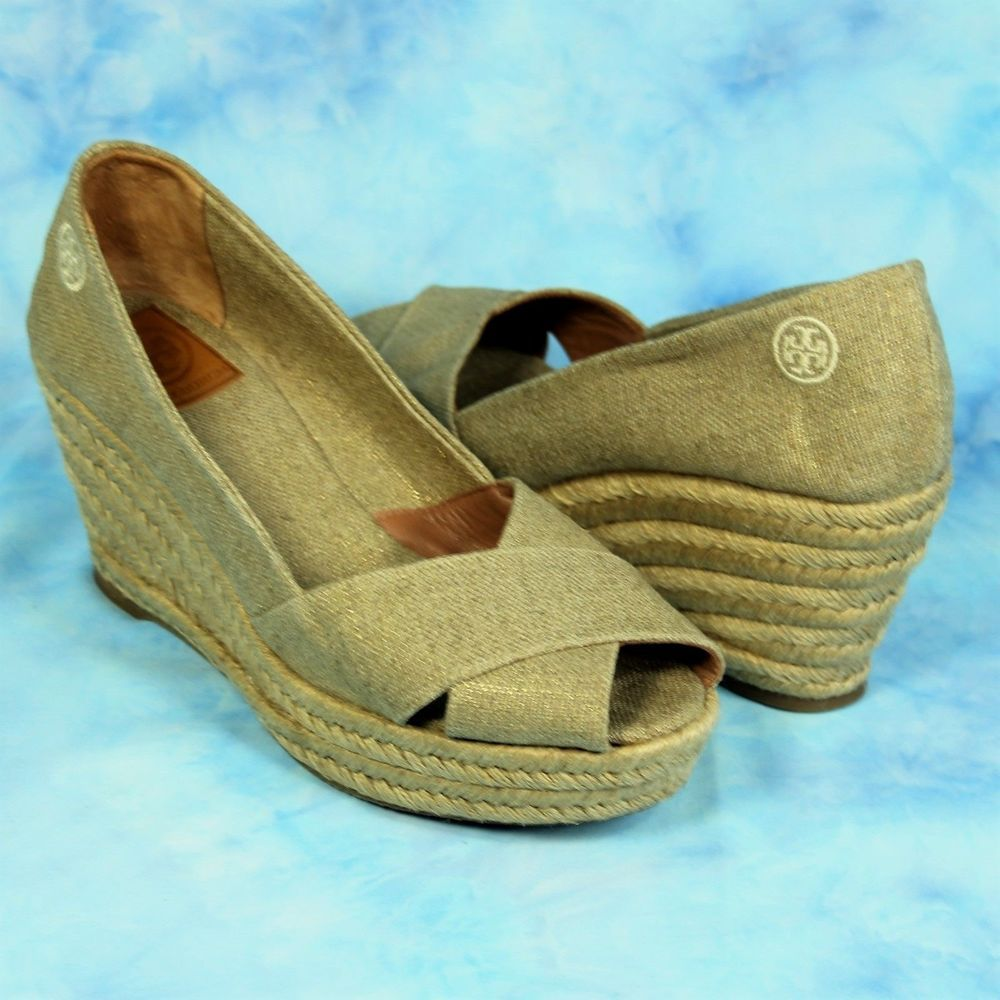 Tory Burch Filipa Metallic Gold Linen Canvas Espadrille Wedge Shoes 9.5  SPAIN #ToryBurch #PlatformsWedges