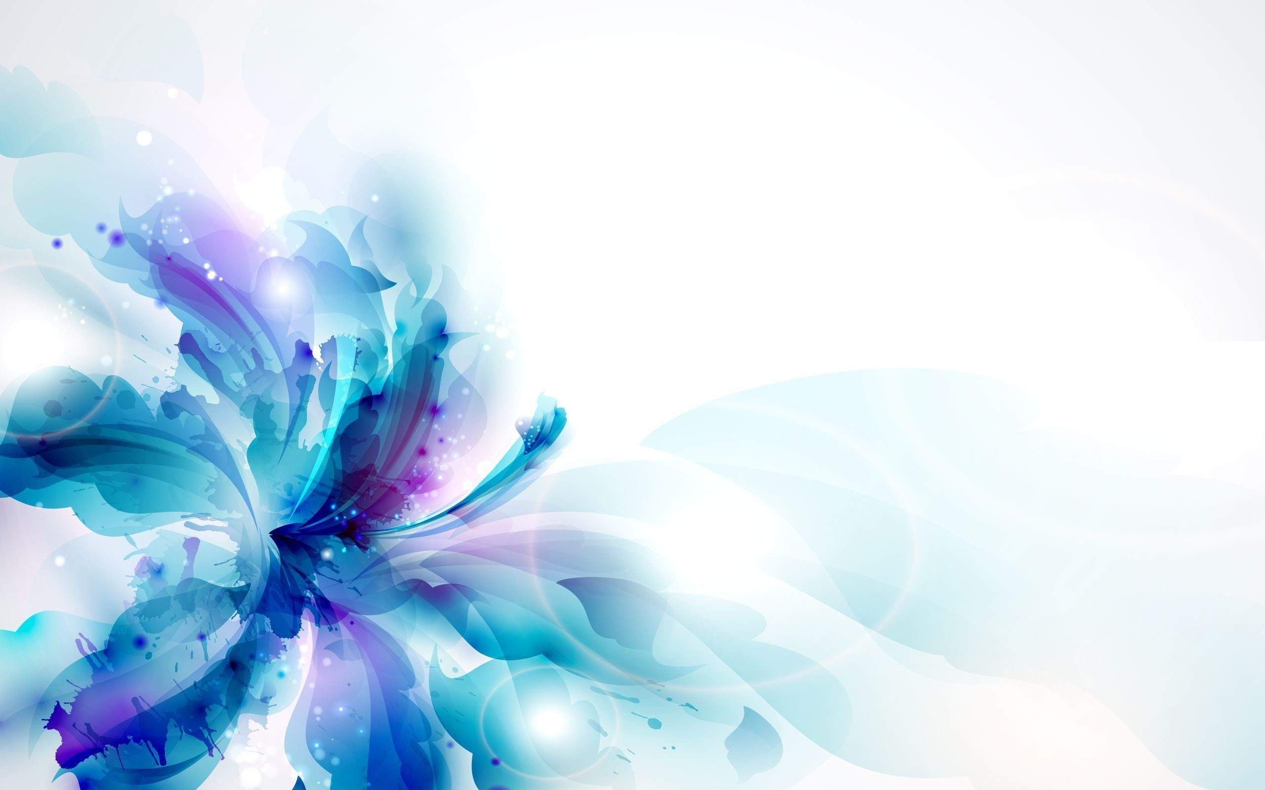 Abstract Design Flower Wallpaper: Blue Abstract Flowers Widescreen 2 HD Wallpapers