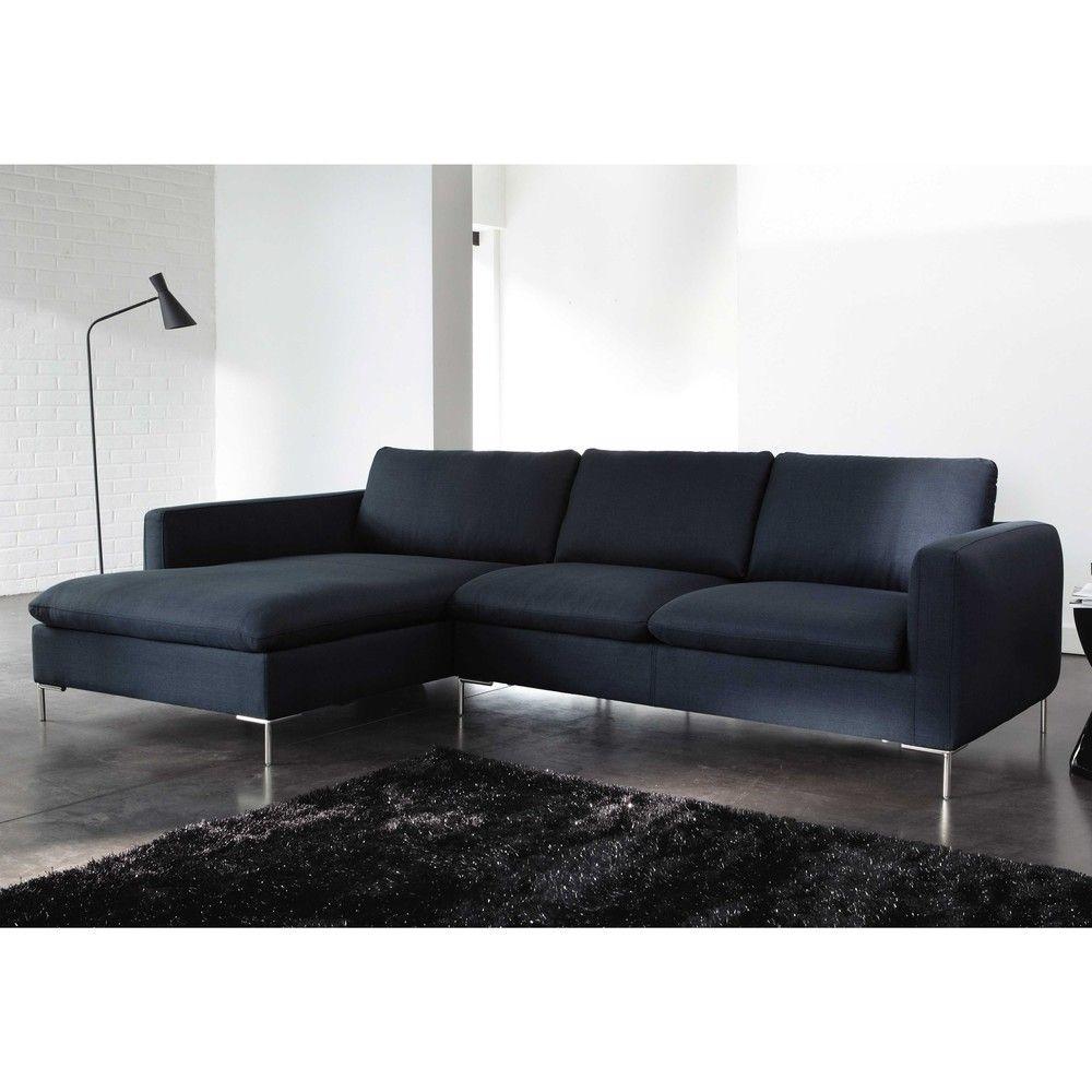 5 Seater Fabric Left Hand Corner Sofa Charcoal Grey City Maisons Du Monde Corner Sofa Sofa Furniture Design Living Room