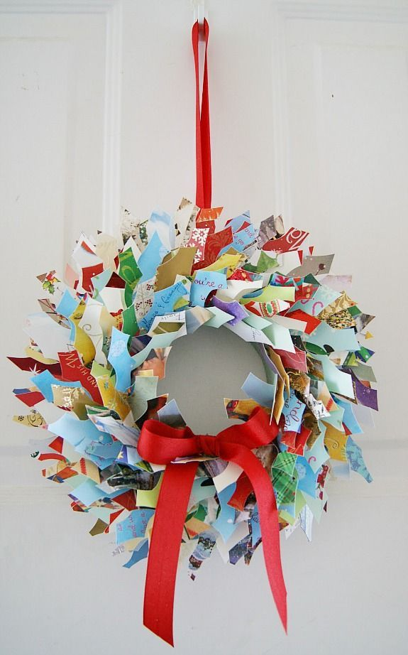 some fantastic ideas for recycling christmas cards cards wreaths and upcycle. Black Bedroom Furniture Sets. Home Design Ideas