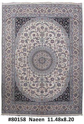 Wool & Silk Original Handmade Rug 8' x 12' Persian Nain Excellent