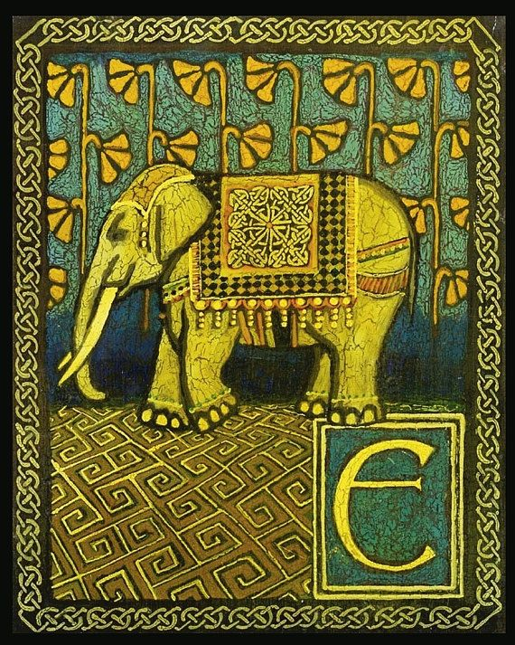 e is for elephant medieval alphabet letter 8x10 by