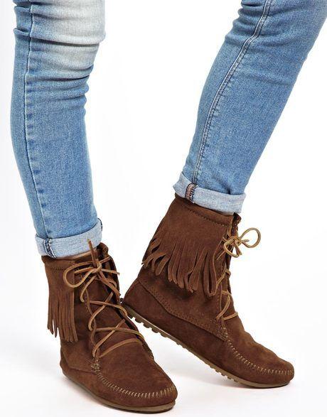 Minnetonka Tramper Brown Hi Ankle Boots Moccasin Boots Boots Minnetonka Boots