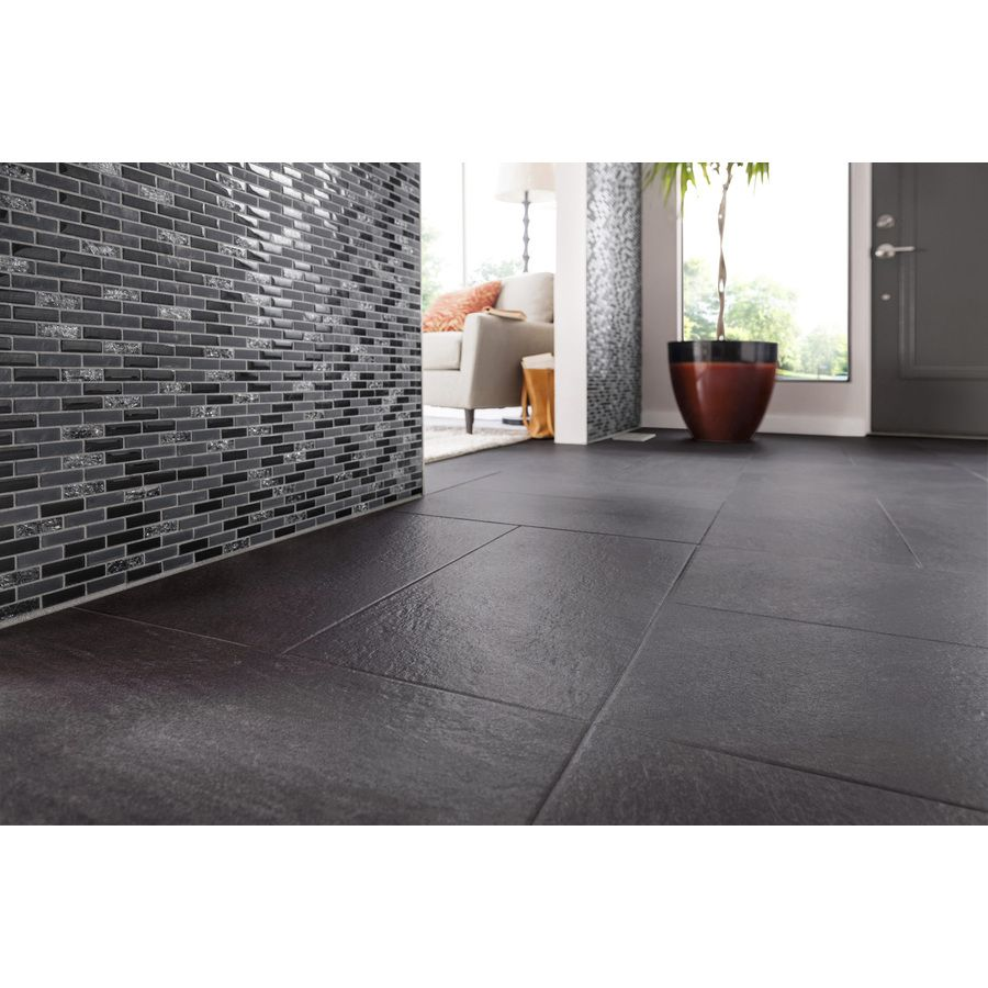Style Selections Galvano Charcoal Porcelain Granite Slip Resistant Floor Tile 12 In X 24 In Granite Flooring Tile Floor Porcelain Flooring