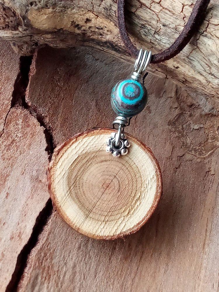 b2806fea79941 Jasper Stone Necklace Natural Wood Slice Aromatherapy Leather Blue ...