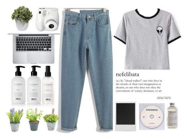 """""""#Romwe"""" by credentovideos ❤ liked on Polyvore featuring Polaroid, Balmain, KEEP ME, Aesop, Fujifilm, Apple, Nearly Natural and vintage"""