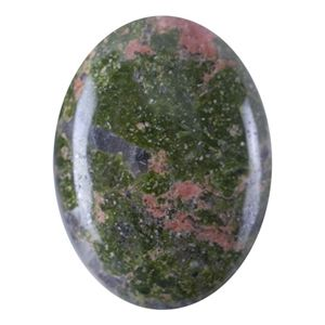 Unakite, sometimes referred to as epidotized granite consists of pink feldspar, green epidote, and quartz.