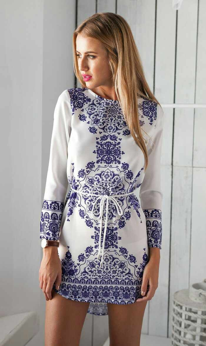 680344558 White and Blue Floral Dress 2015 New Women Summer Digital Dress Long Sleeve  Short Vestidos Femininos Bodycon Floral Dress-in Dresses from Women's  Clothing ...