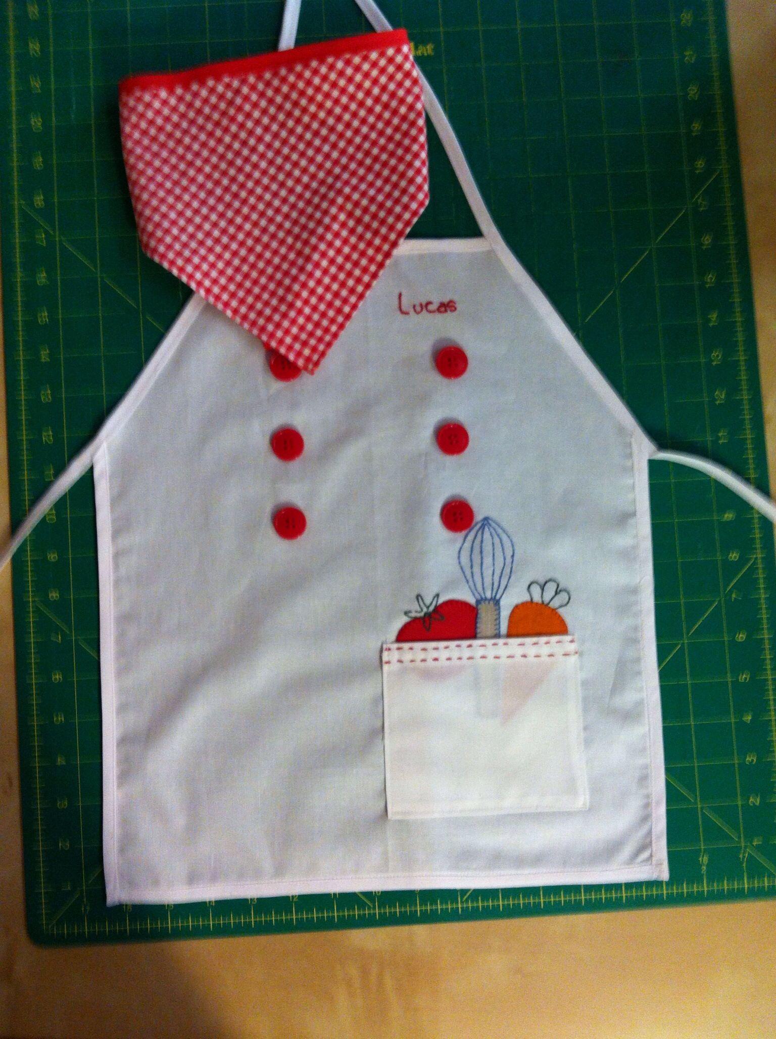 Delantal ni o cosas hechas por mi de patchwork - Delantales y gorros de cocina para ninos ...