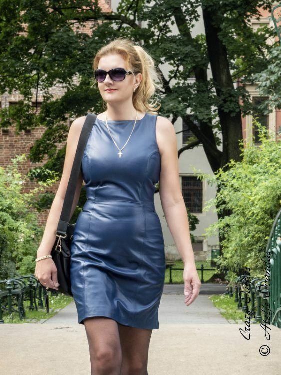 Lederkleid Leder Kleid Blau Minikleid Maßanfertigung #damen