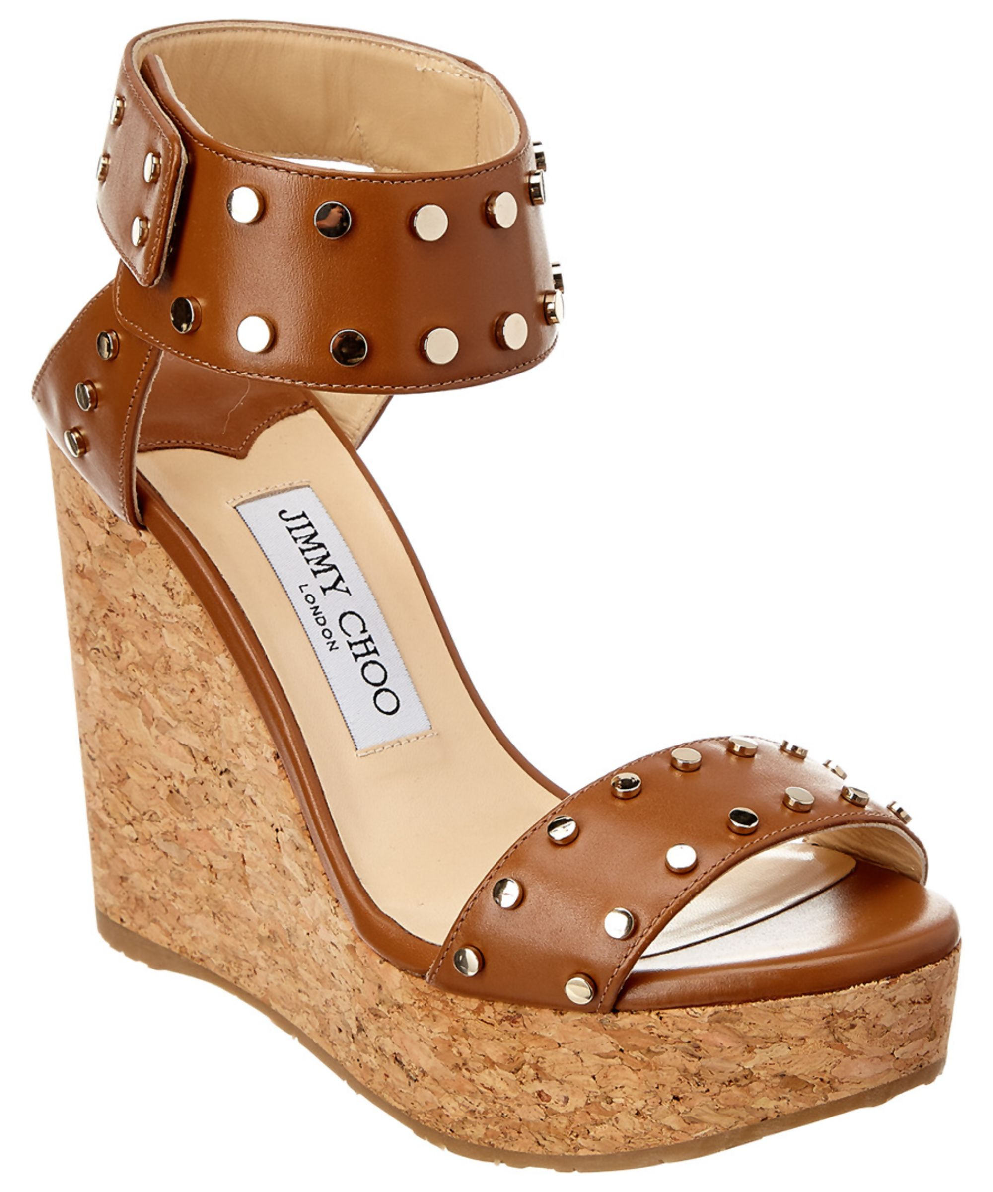 72e7def7989a JIMMY CHOO | Jimmy Choo Nelly 120 Studded Shiny Leather Wedge Sandal #Shoes  #Sandals #JIMMY CHOO