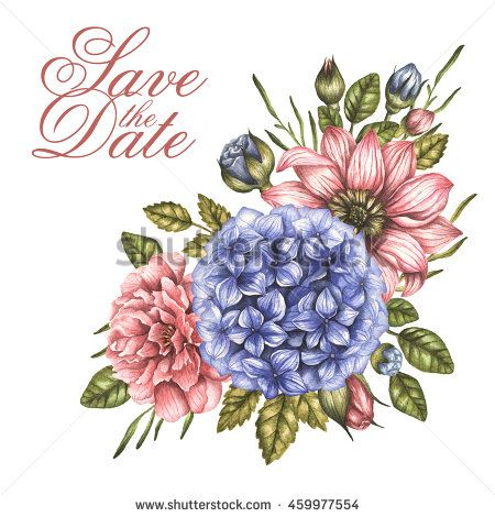 Save the date watercolor bouquet with peony roses flowers invitation card for wedding or birthday floral summer background vintage illustration in high resolution stopboris Image collections