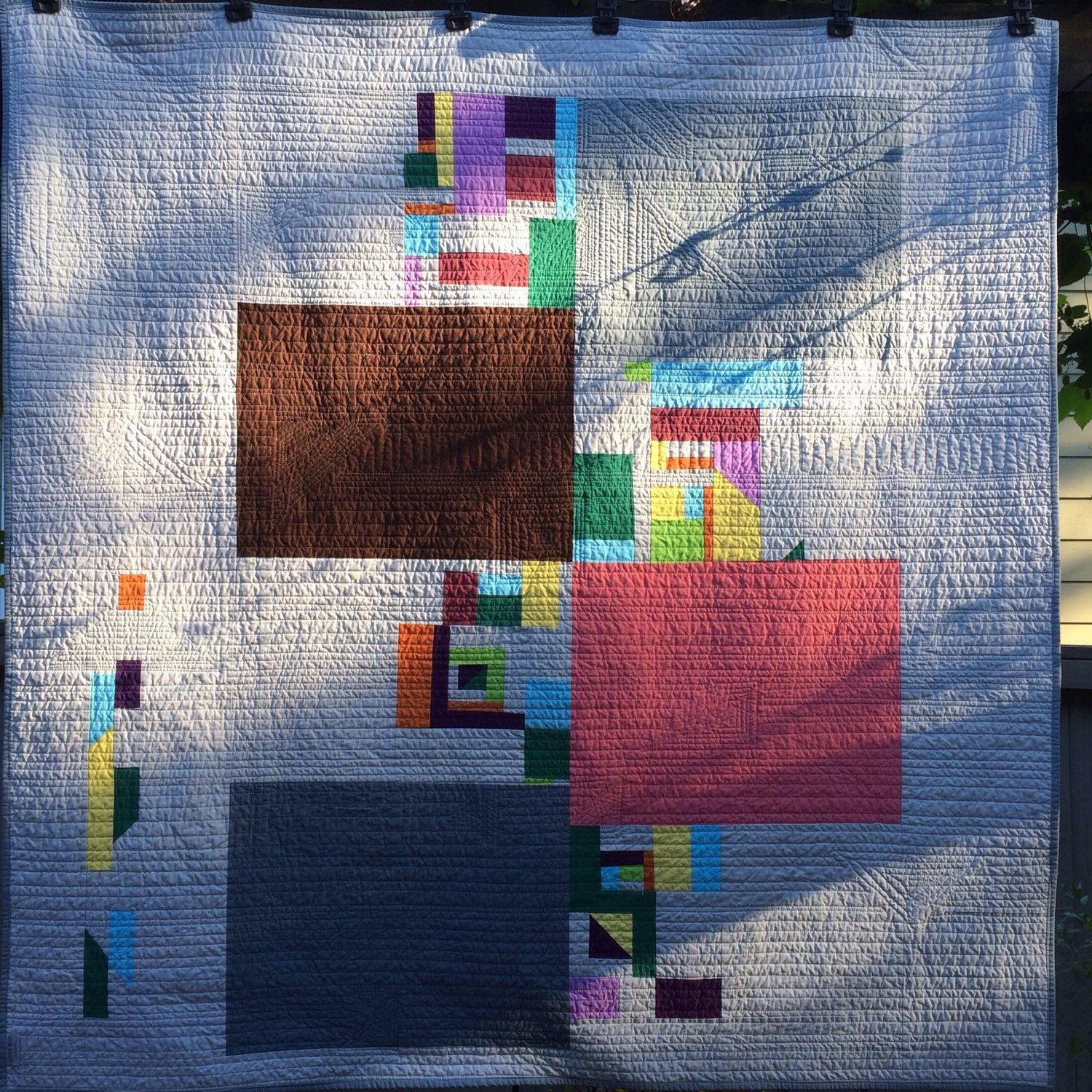 SHAPES Throw Quilt. Which side is the front?  You decide.