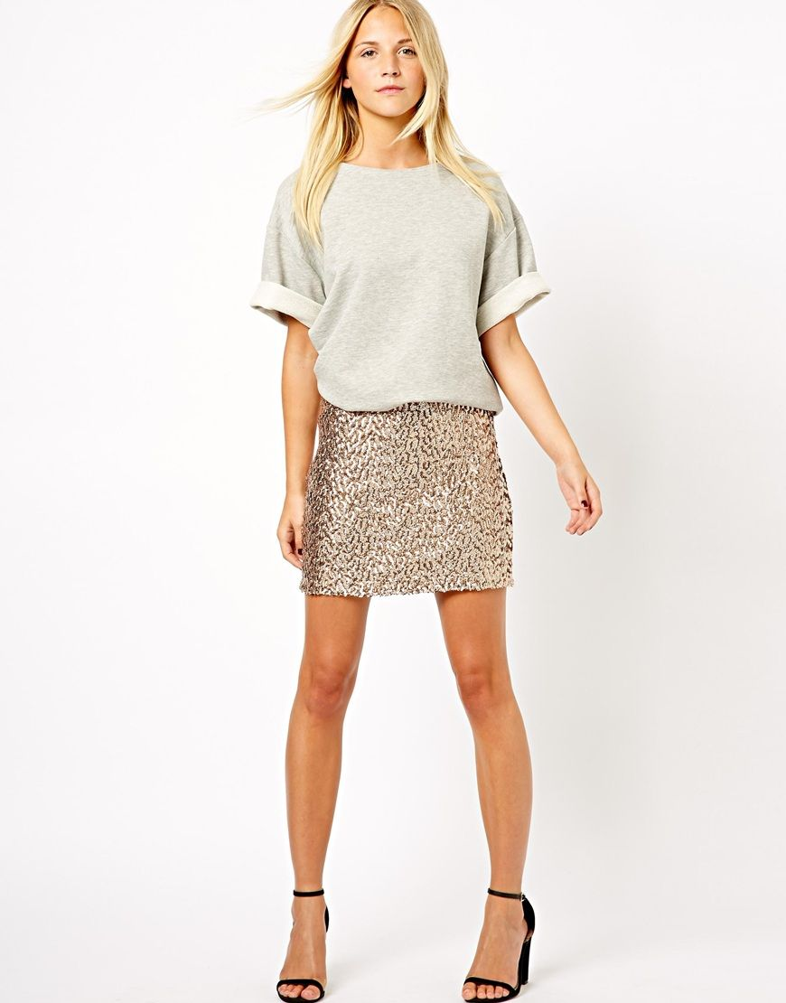 Gold Asos sequin skirt pictures photo