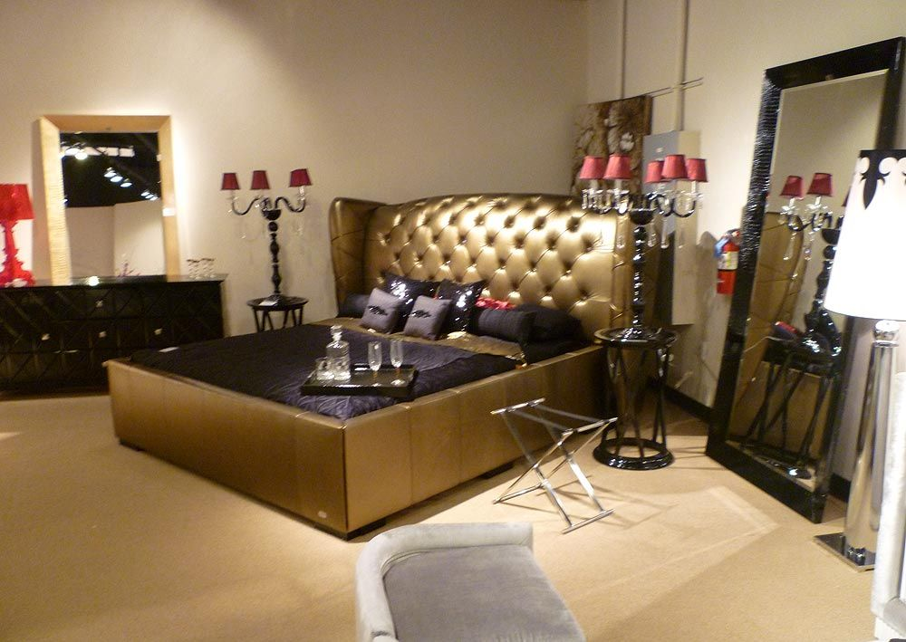 Arv 218 Golden Leather Bed Modern Bedroom Furniture Furniture